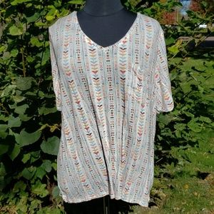Maurices plus v neck super stretch tribal high low